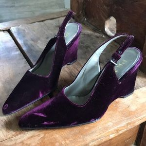 PRADA Raspberry Purple Velvet Wedge Slingback S5.5